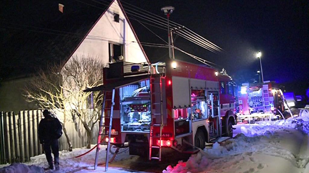 Požár domu v Horní Loděnici