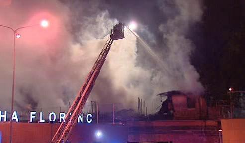 Požár drážní haly na pražské Florenci