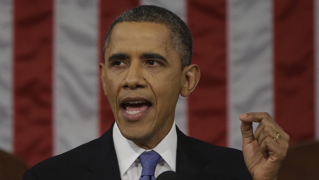 Barack Obama při projevu o stavu unie
