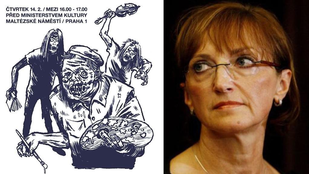 Plakát Zachraňte kulturu 2013 a ministryně Alena Hanáková