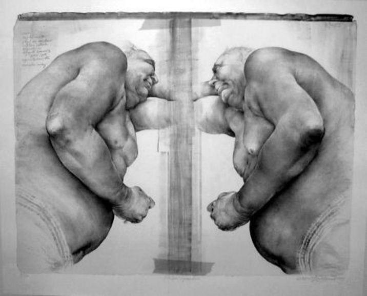 Oldřich Kulhánek / Fat free - obézní symfonie - litografie 2003
