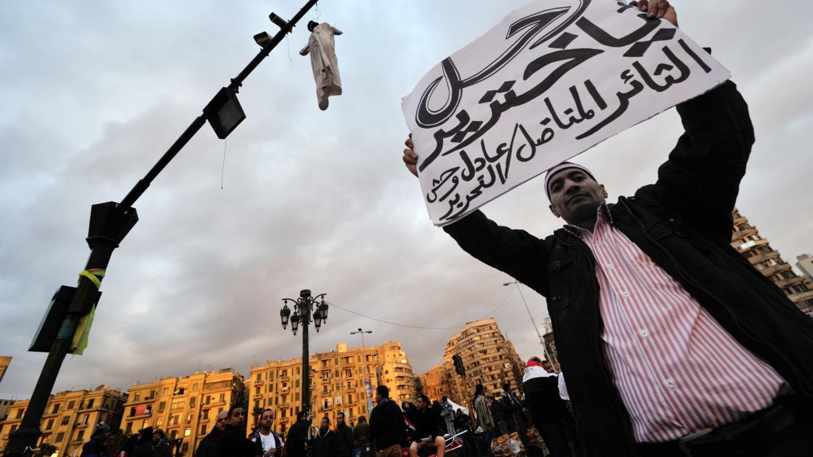 Demonstrant na náměstí Tahrír