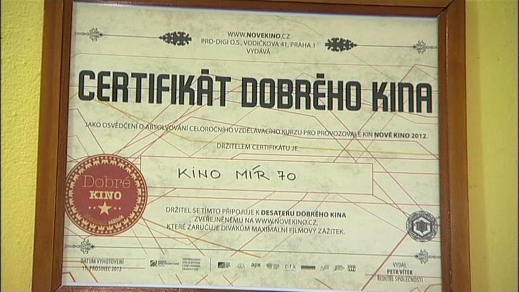 Certifikát krnovského kina