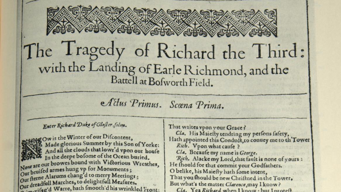 Vydání Shakespearova Richarda III. z roku 1623