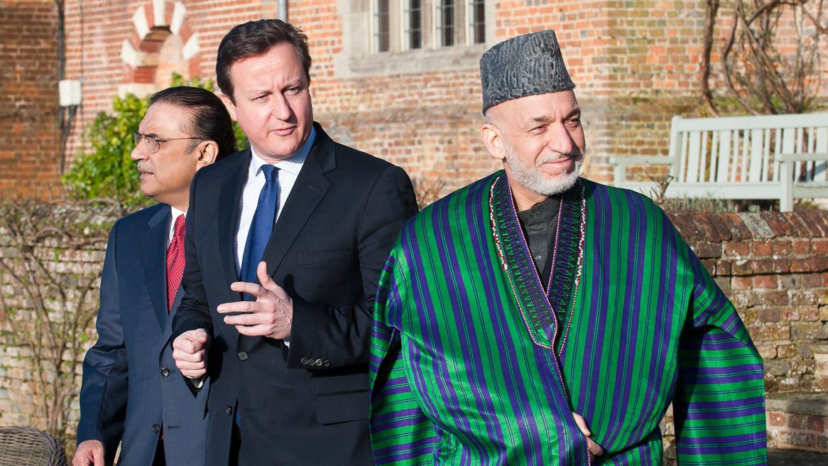 Ásif Alí Zardárí , David Cameron a Hamíd Karzáí