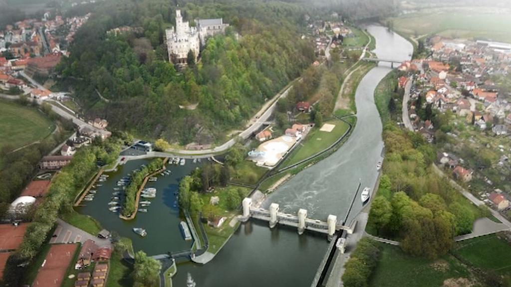 Vizualizace přístavu v Hluboké nad Vltavou