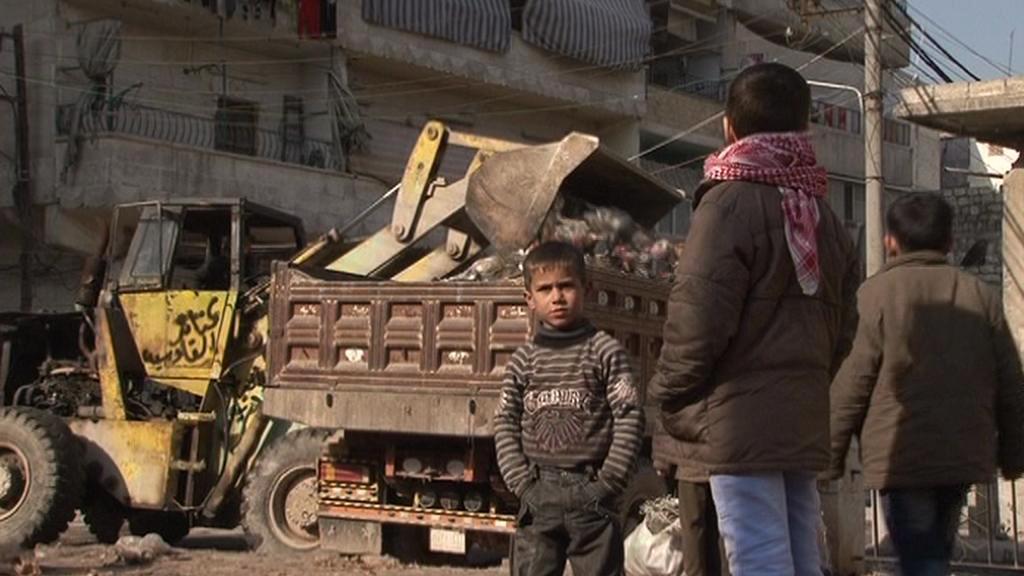 Odklízení odpadků v Aleppu