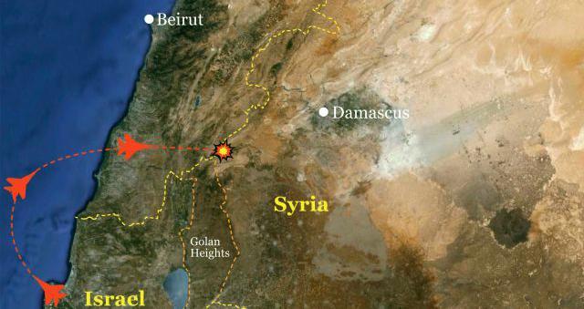 Směr útoku izraelských letounů