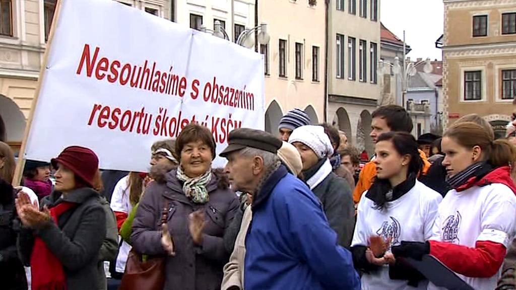 Protest studentů v Českých Budějovicích