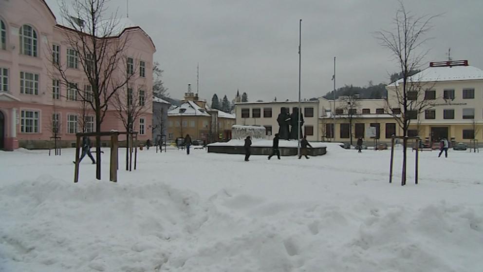 Vsetínské náměstí je aktuálně pod sněhem