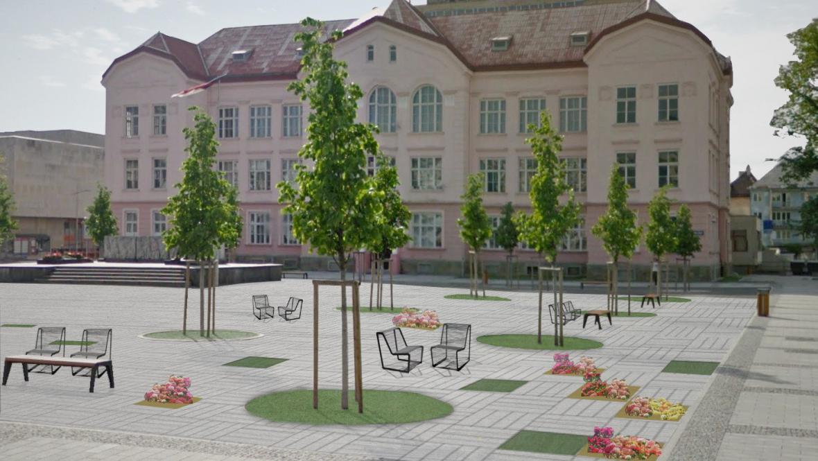 Jeden z návrhů na proměnu náměstí Svobody ve Vsetíně