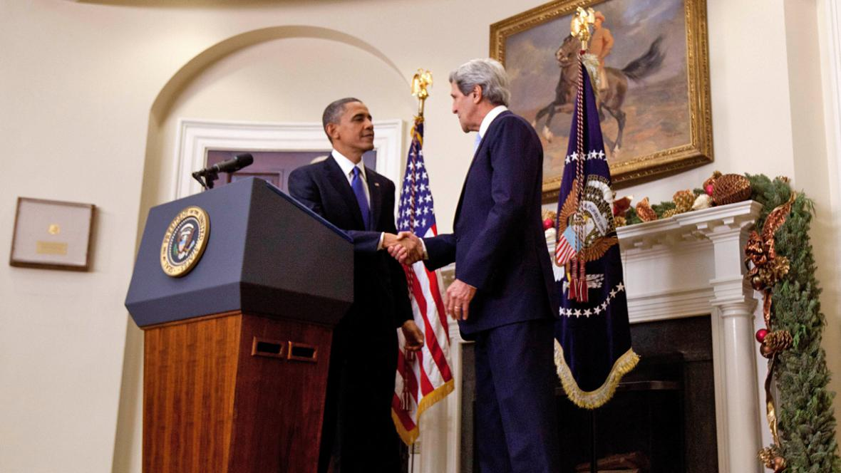 Barack Obama a John Kerry