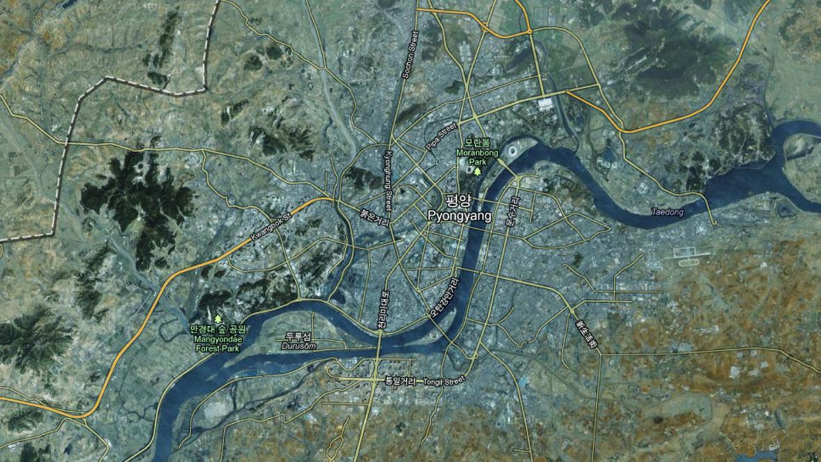 Pchjongjang na Google mapách
