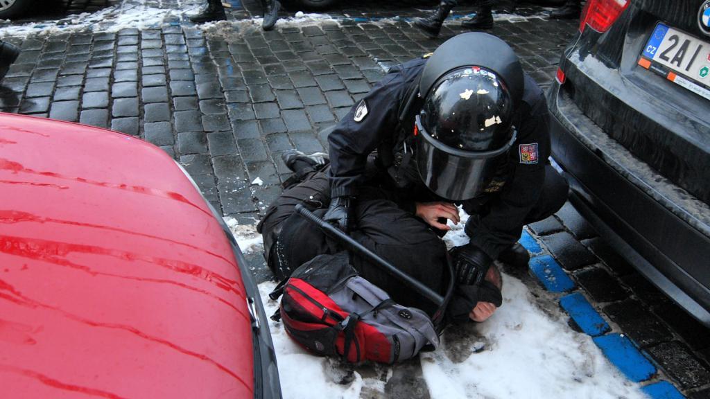 Policejní zásah na ministerstvu práce a sociálních věcí
