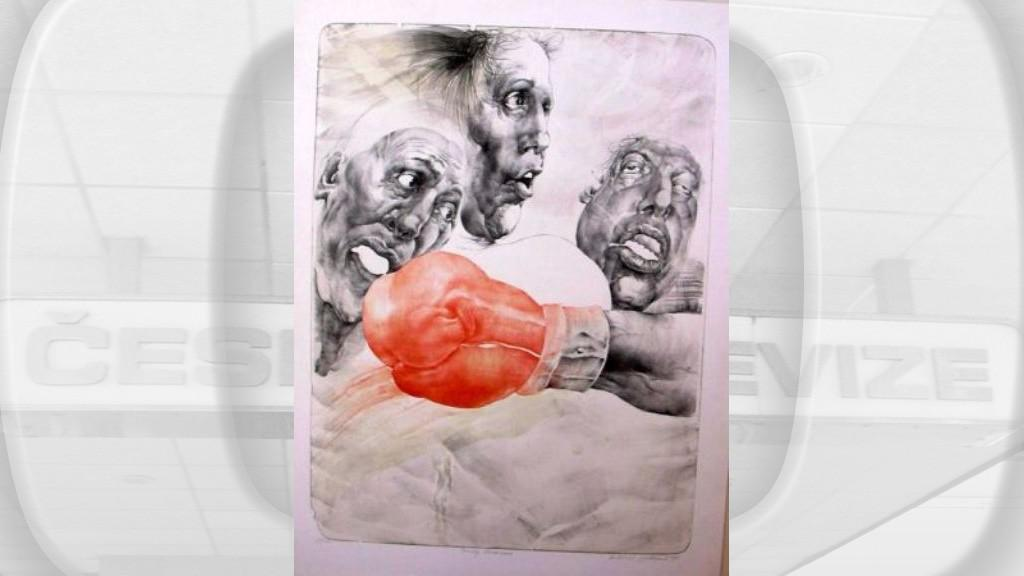 Oldřich Kulhánek / Tvrdý Bussines - litografie 1996
