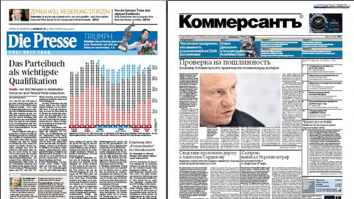 Die Presse a Kommersant z 28. ledna