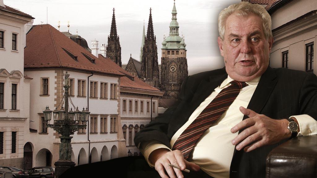 Miloš Zeman na pozadí Pražského hradu