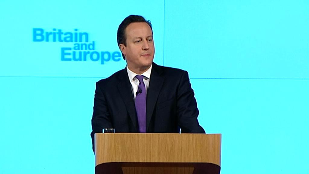 David Cameron při projevu o vztazích Británie k EU