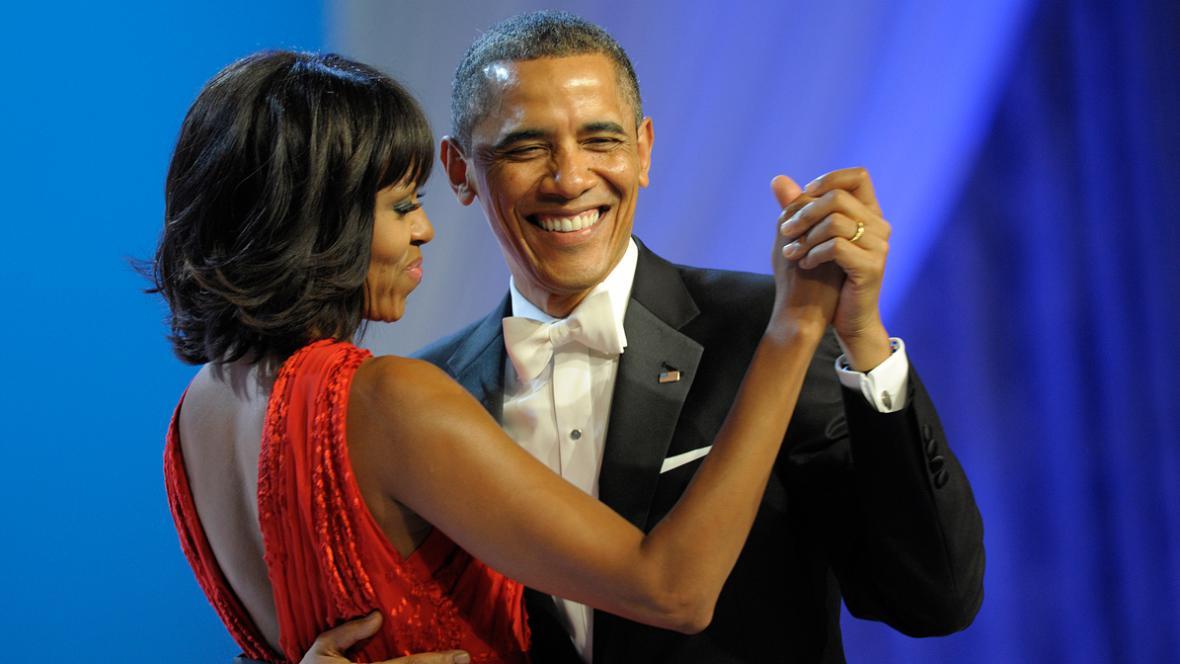Michelle a Barack Obamovi na inauguračním plese