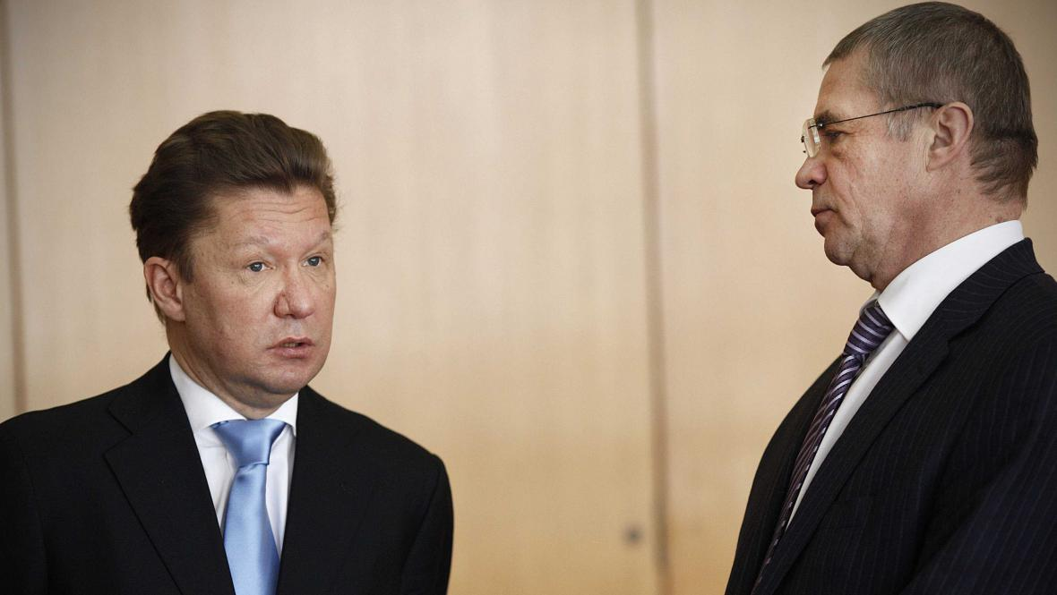 Šéf Gazpromu Alexej Miller a ředitel Gazprom export Alexander Medveděv