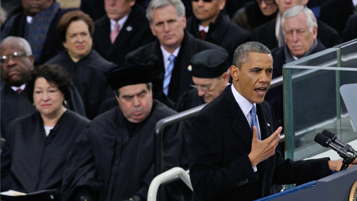 Barack Obama při inauguračním projevu