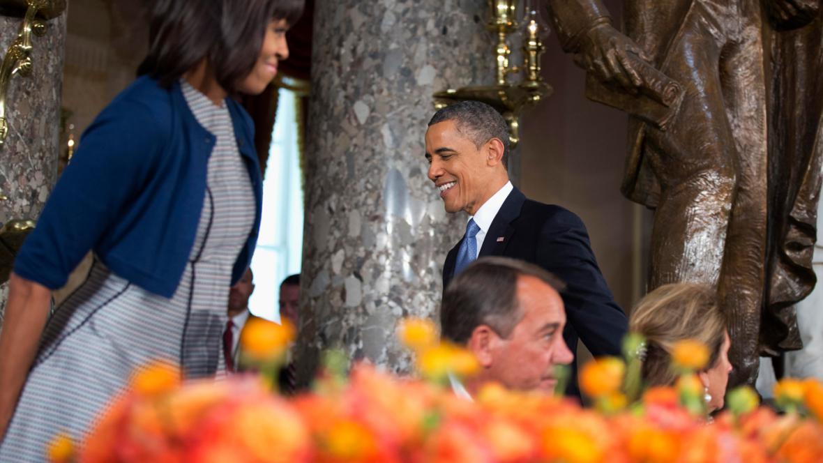 Barack a Michelle Obamovi na obědě v budově Kongresu