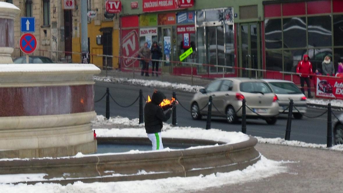 Na Václavském náměstí se pokusil upálit muž