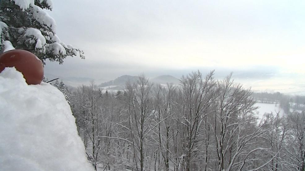 Výhled z rožnovské rozhledny v zimě