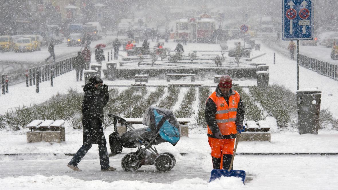 Zima na Václavském náměstí