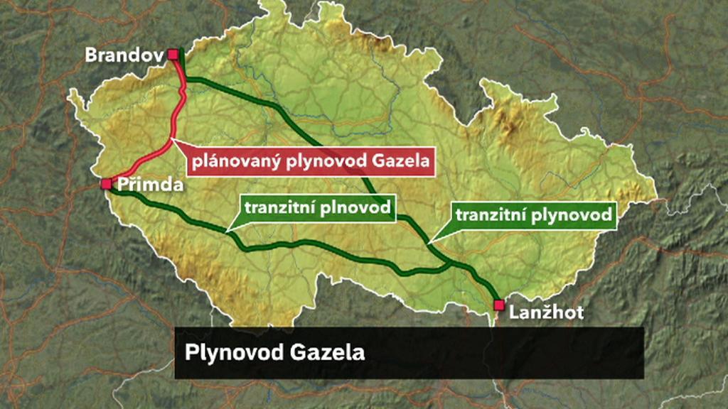 Mapa plynovodu Gazela
