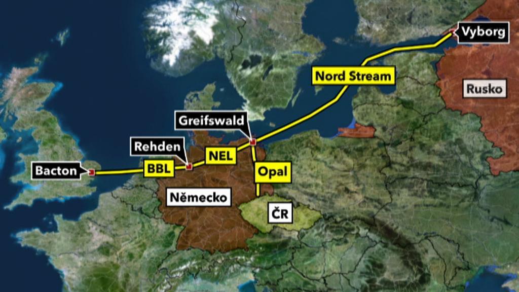 Mapa plynovodu Nord Stream