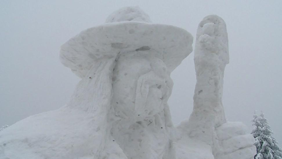 Pustevny ozdobily ledové a sněhové sochy