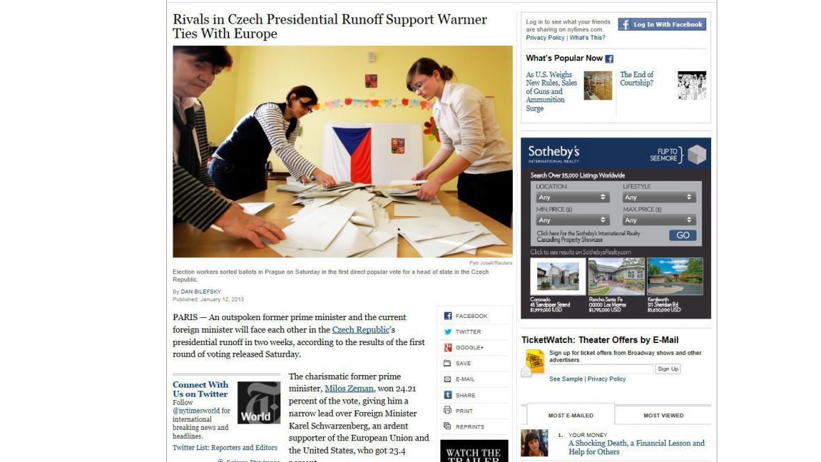 New York Times o české prezidentské volbě
