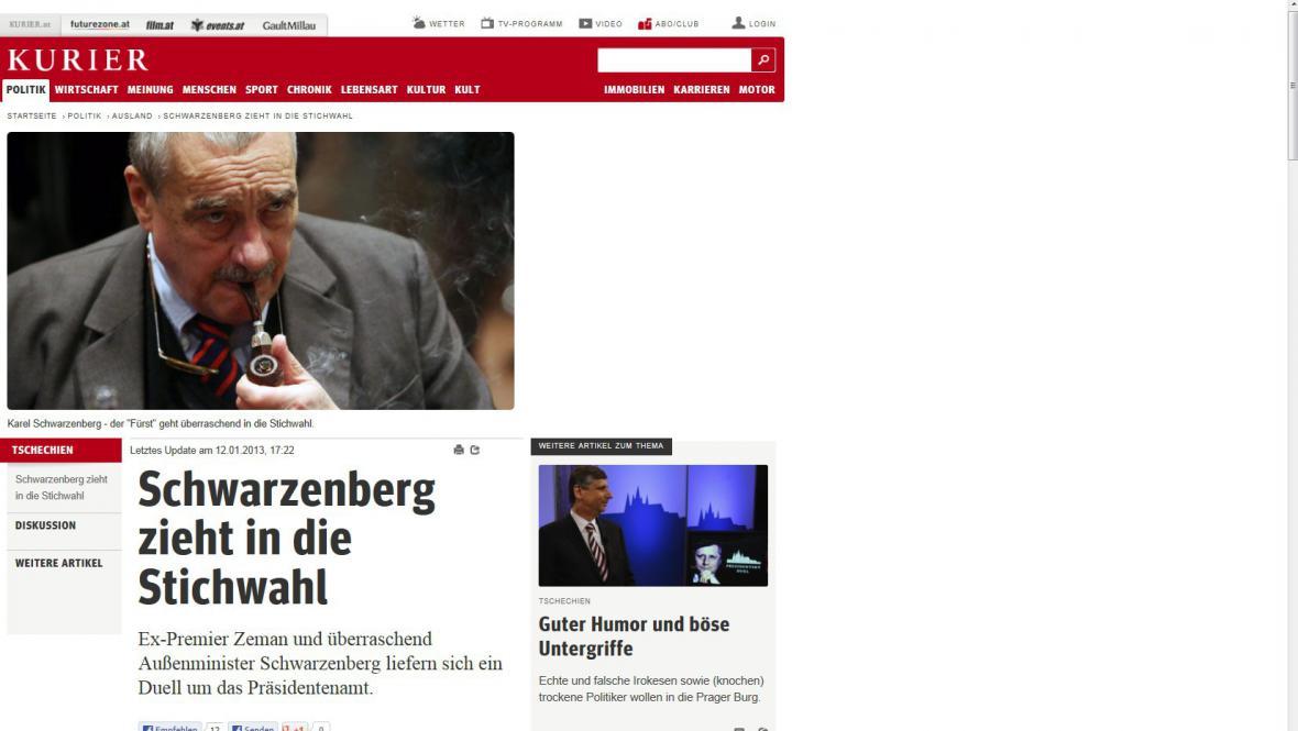 Kurier o české prezidentské volbě