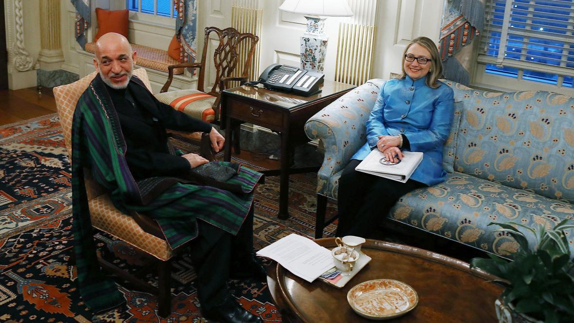 Hamíd Karzáí a Hillary Clintonová