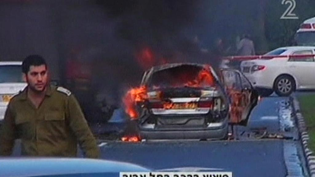 Výbuch auta v Tel Avivu
