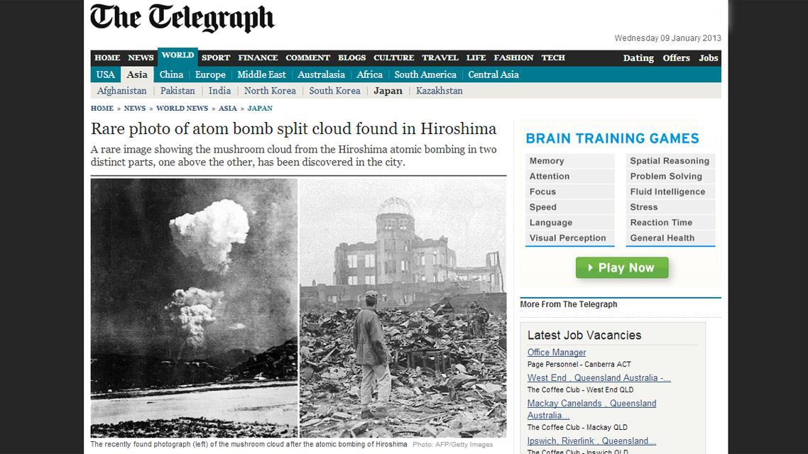 Vzácný snímek atomového hřibu z Hirošimy