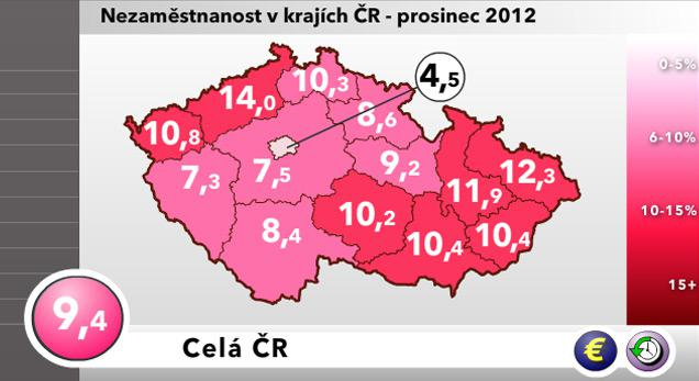Mapa nezaměstnanosti v krajích ČR