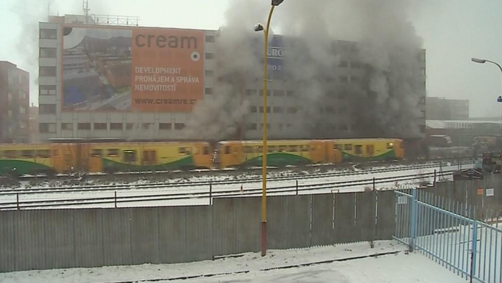Požár 103. budovy v areálu bývalého Svitu