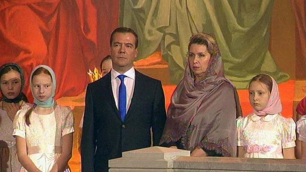 Ruský premiér Medvěděv s rodinou