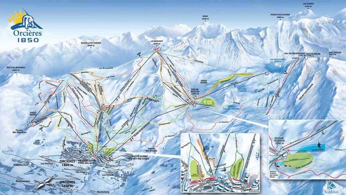 Plán lyžařského střediska Orciéres Merlette