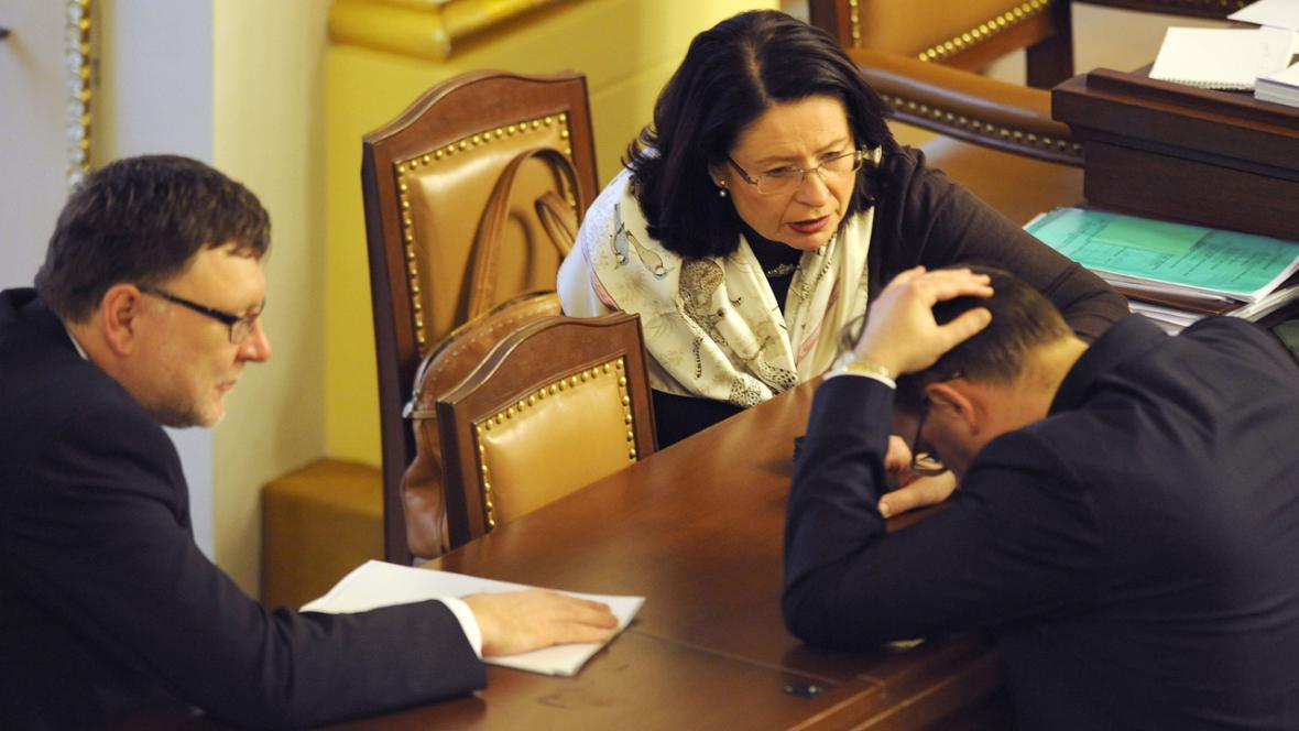 Zbyněk Stanjura a Miroslava Němcová ve sněmovně