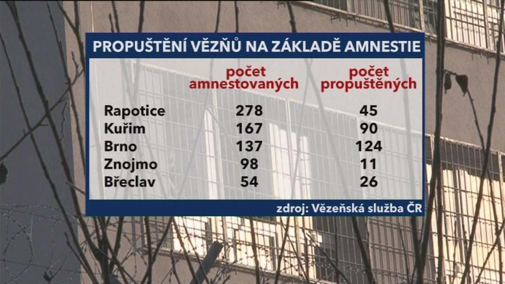 Statistika propuštěných vězňů v Jihomoravském kraji