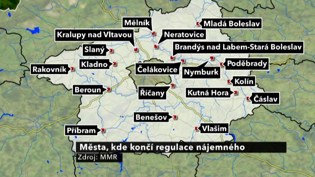 Mapa deregulace ve středních Čechách