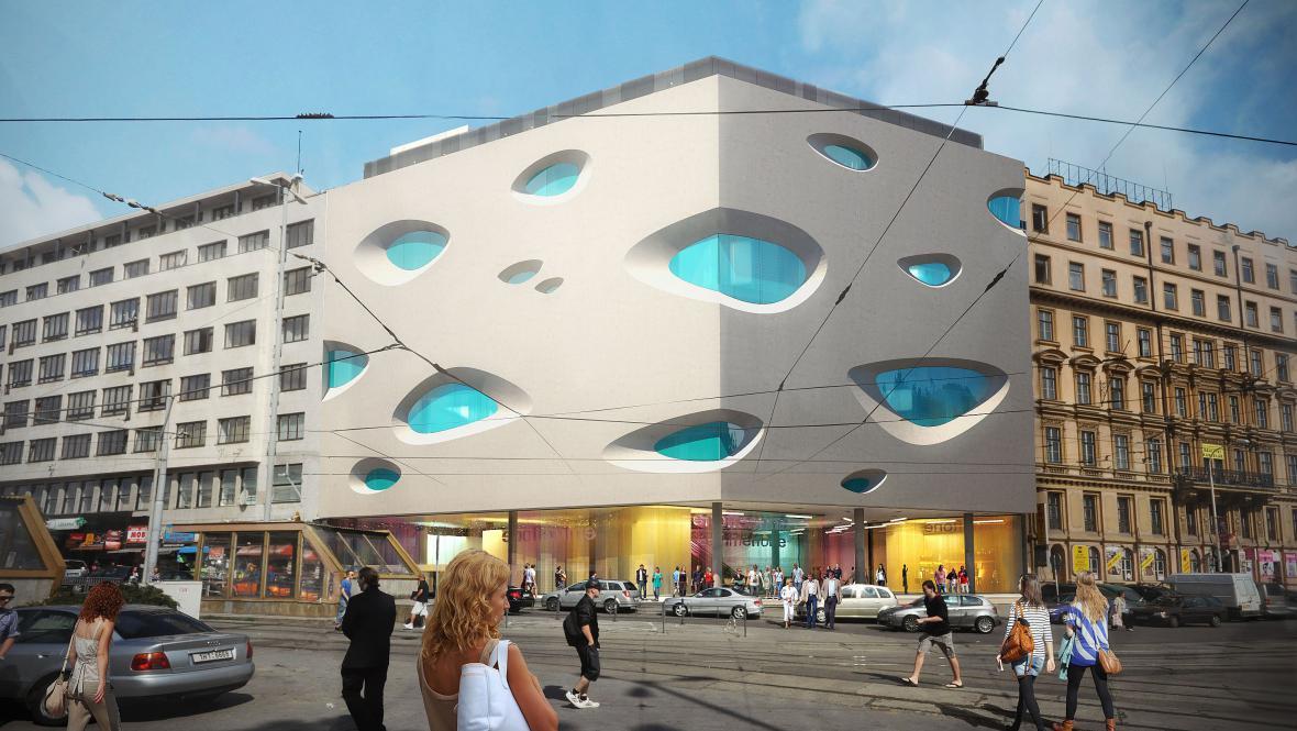 Vizualizace obchodního centra Letmo na hlavním nádraží v Brně