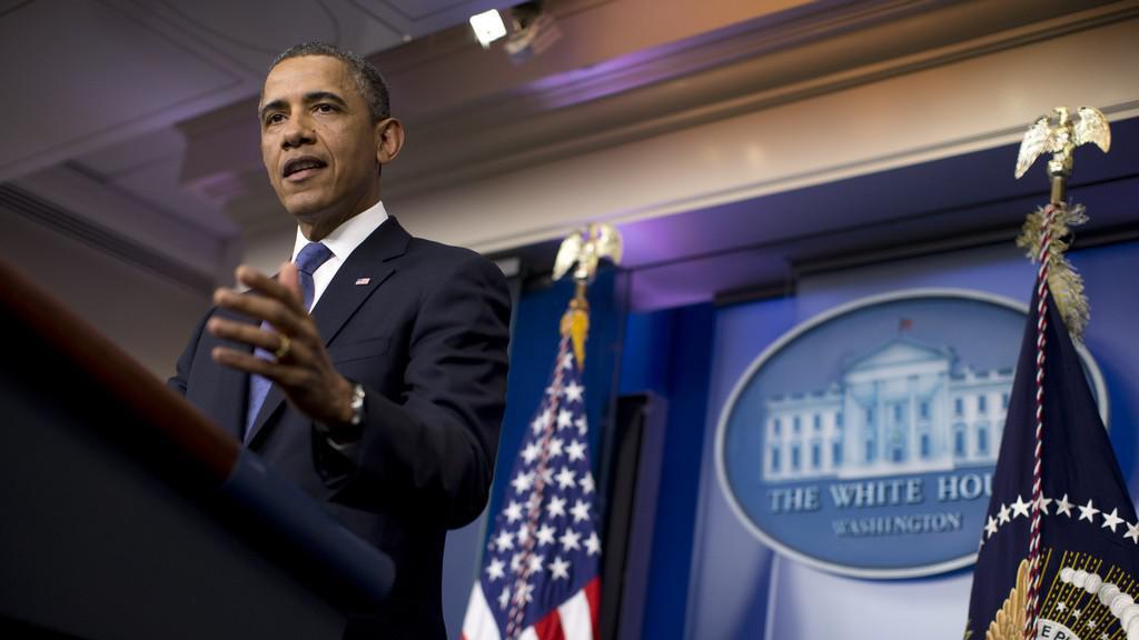 Barack Obama na tiskové konferenci po jednání s lídry Kongresu