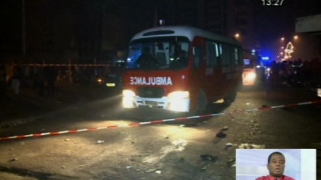 Ambulance před stadionem v Pobřeží slonoviny