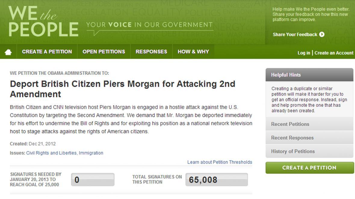 Petice za deportaci Pierse Morgana