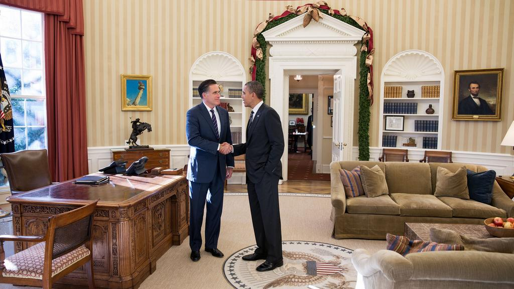 Obama přivítal Romneyho v Bílém domě