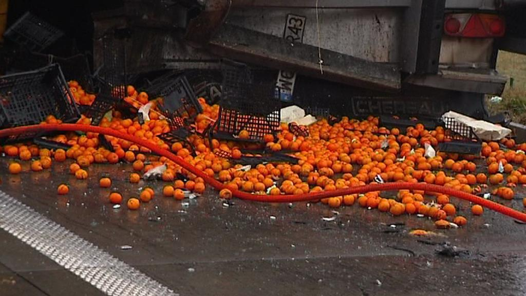 Nehoda dvou kamionů uzavřela na několik hodin dálnici D1